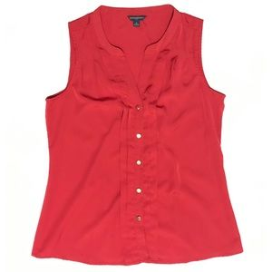 Banana Republic Red Pleated Button Down Tank Top M
